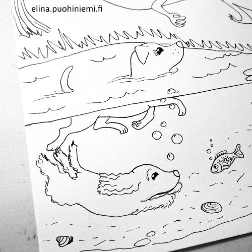 Tarinatädin värityskuvat coloring picture detail, A4 ink on paper
