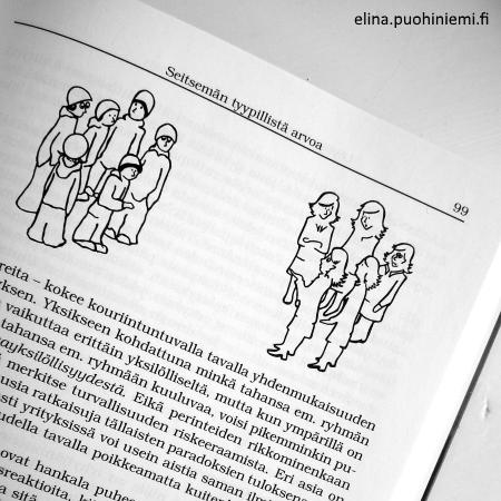 Book Illustration by elinap, Löytöretki yrityksen arvomaailmaan, Ink on paper