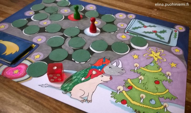 elinap - Chrismas Calendar Board Game, Ink on Paper, Colored by children
