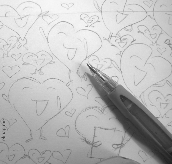 Detail from a sketch of a DreamDoodle by elinap, pencil on paper