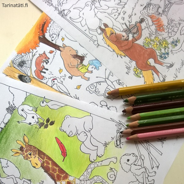 Tarinatädin värityskuvat, Three coloring pictures, A4 ink on paper, colored by elinap with coloring pencils