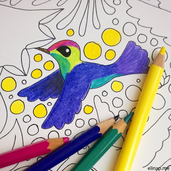 elinap Coloring Pictures for Inner Children, A4 ink on paper, colored by elinap with coloring pencils