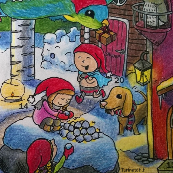 Tarinatädin värityskuvat Coloring picture, A4 ink on paper, colored by elinap with coloring pencils