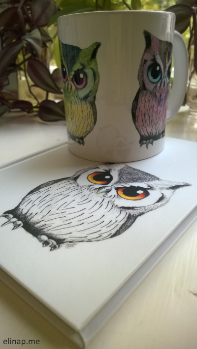 elinap - Mugs & Notebooks, Ink on paper, Colored with coloring pencils