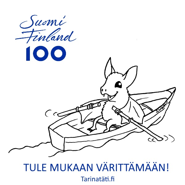 Tarinatädin värityskuvat, An ad for Suomi 100 Coloring picture, A3 ink on paper